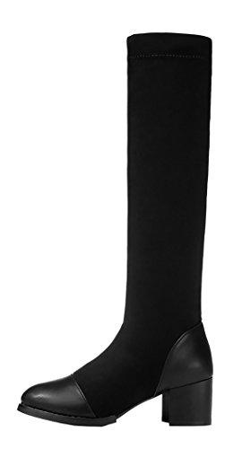 Guciheaven Women Winter New Style Keep Warm Add Wool Slim-Fitting Rough Heels(5.5 B(M)Us, Black)
