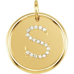 14K Yellow Gold S Polished Posh Mommy Mother'S Mom® Initial Roxy Pendant Jewelry With Diamonds front-181391