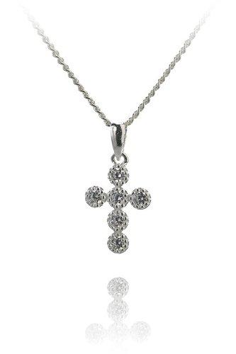 Sterling Silver Cross Bezel Set CZ Sparkle Pendant