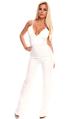 Lolli Couture Long Pant Low Cut V Neck Spaghetti Strap Zipper Back Jumpsuit L Ivory front-598076