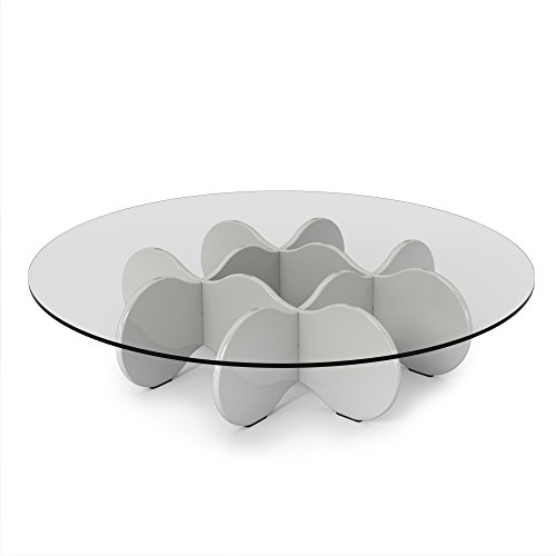 Manhattan Comfort Waverly Accent Table Collection Round Glass Coffee Table, 28