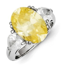 Genuine IceCarats Designer Jewelry Gift Sterling Silver Light Yellow & Clear Cz Ring Size 8.00