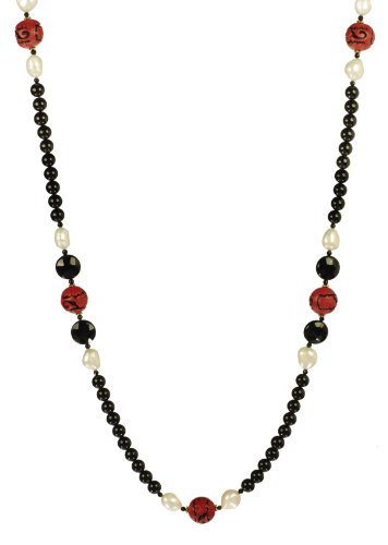 Black Onyx with Cinnabar and White Freshwater Cultured Pearl Accents Endless Necklace 36