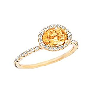 14K Yellow Gold 1/4 ct. Diamond and 7 x 5 MM Oval Shaped Citrine Ring