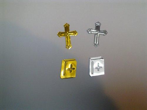 Streuteile, Kreuz und Bibel, silber & gold