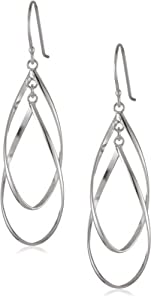 Sterling Silver Double Elongated Oval Twist French Wire Earrings