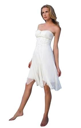 Biggoldapple Biggoldapple Classic Sweetheart Knee-Length Wedding Dress With Ruched/Beading 2 Ivory