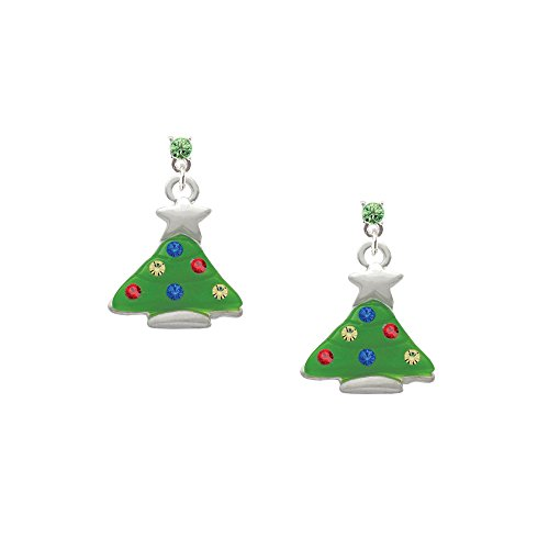 Green Resin Christmas Tree With Crystals - Lime Green Crystal Post Earrings