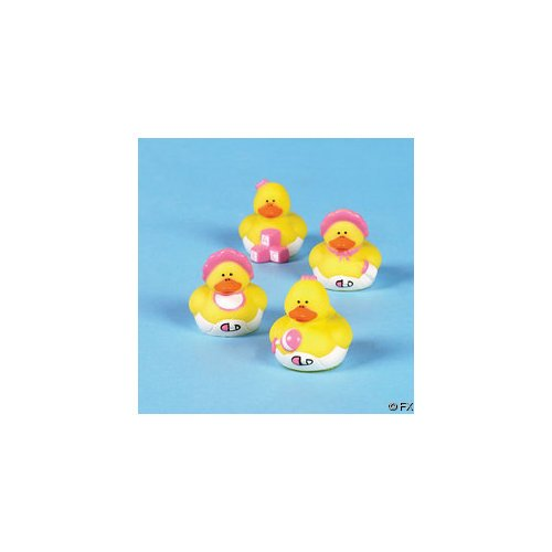 Two Dozen (24) Pink GIRL Mini Rubber Ducky Birthday Party or Baby Shower Favors