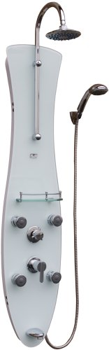 PULSE Showerspas 1006W-CH Molokai Pre-Plumbed Tempered Glass Shower System, White with Chrome Finish