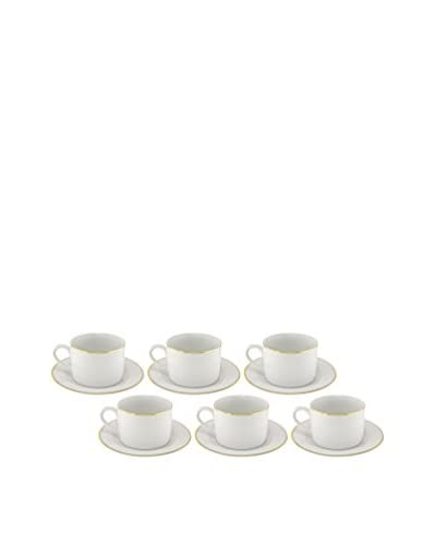 10 Strawberry Street Set of 6 Gold Line 6-Oz. Tea Cups & Saucers