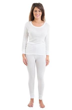 Womens Jacquard Rib Thermal Underwear Set, Long Sleeve Vest & Long Pants, White, 8-10
