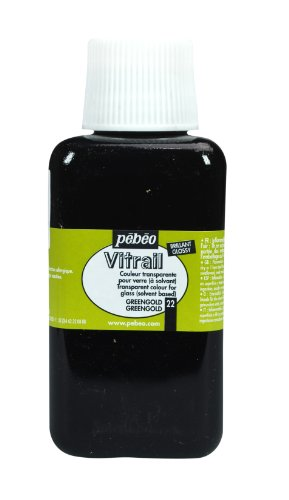 Pebeo 250Ml Vitrail Stained Glass Effect Paint Bottle, Green Gold