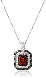 Sterling Silver Garnet with Created White Sapphire and Black Diamond Pendant Necklace, 18