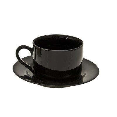 Black Rim 6 oz. Teacup and Saucer [Set of 6]