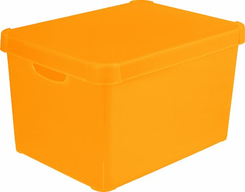 Stockholm 213233 Dekorative Box, Polypropylen, durchsichtig, groß, Orange