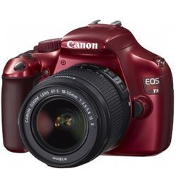 Canon EOS Rebel T3 12.2MP DSLR Camera With 18-55mm IS Lens Kit - Red