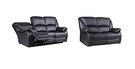 yakoe Recliner Sofa Set, Black