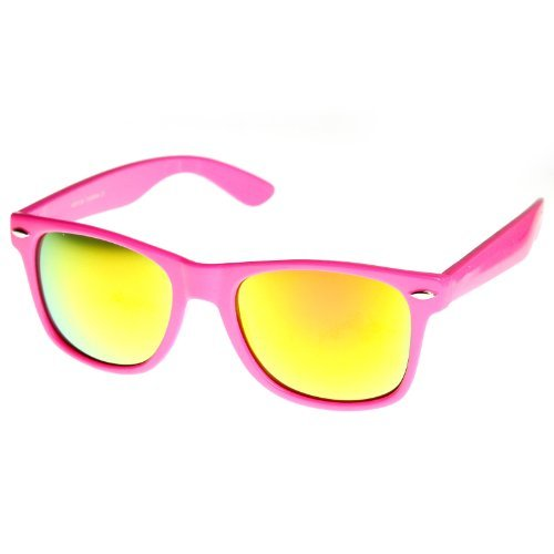 MLC EYEWEAR Reflective Color Mirror Lens Neon Color Wayfarers Style Sunglasses