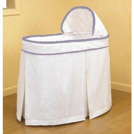 Forever Mine Lavender Trim Bassinet Liner/Skirt and Hood - Size 17 x 31