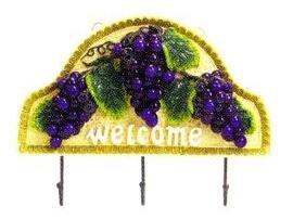 TUSCANY GRAPES 3-Dimensional Grape Key Towel Hooks Hanger *NEW*