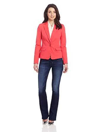 DKNYC Women's Long Sleeve Notch Collar Blazer With Novelty Closure, Bright Bloom, 04