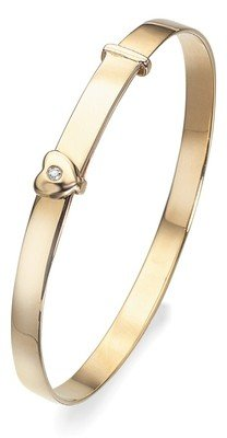 D for diamond 9ct Yellow Gold Diamond Baby Heart Bangle in Girls Box Christening