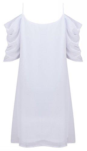 Women's Summer Spaghetti Strap Sundress Trumpet Sleeve Beach Slip Dress White Small