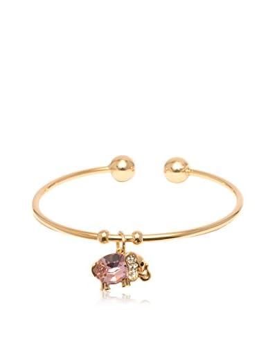 Sevil 18K Gold-Plated Cuff Bracelet with a Pink Swarovski Crystal Elephant