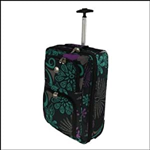 Womens Mens Girls 20inch Black With Purple Green Zodiac Trim Design Wheeled Hand Luggage Flight Cabin Bag Suitable For Ryanair Easyjet Bmi Ba Virgin Fits Within 55 X 40 X 20 Cm Black With Purple Green Zodiac Trim Single Handle Wheeled Holdall Approved Cab