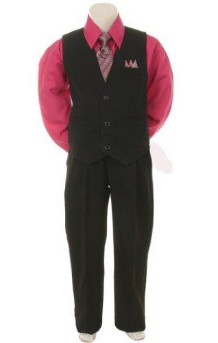 Stylish Dress Suit Outfit Pant, Vest & Tie Set-Infant Baby Boys & Toddler-Black/Fuschia, 9 Months