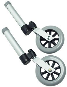 Lumex 5″ Swivel Universal Walker Replacement Wheels NEW