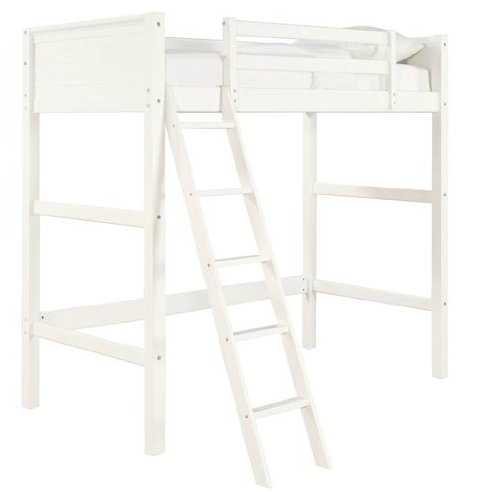 NEW White Twin Wood Wooden Loft Style Bunk Bed Kids