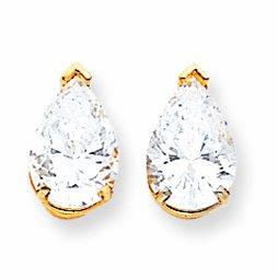 14ct Gold 10x7mm Pear Cubic Zirconia Earrings
