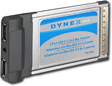 Dynex 2-Port USB 20 PCMCIA Notebook Card