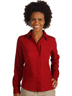 Columbia Womens Silver Ridge Long Sleeve Shirt (Red Element, X-Large)