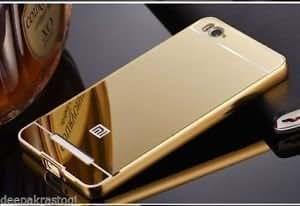 Metal-Bumper-Acrylic-Mirror-Back-Case-Cover-For-Xiaomi Mi4i - Golden Color