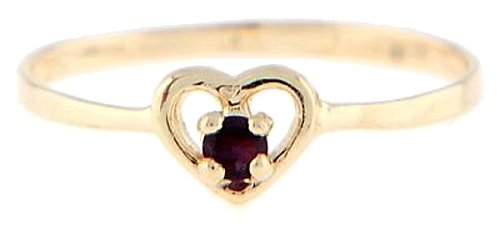 10 Karat Gold February Amethyst Cubic Zirconia Child Birthstone Ring Size (3)