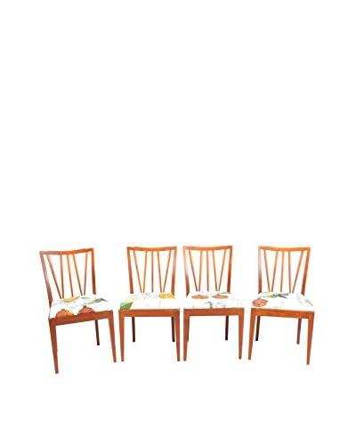 Set of 4 Scandinavian Teak Dining Chairs, Brown/Multi