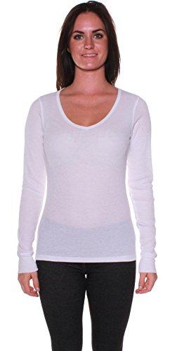 Active Basic Women's Plain Basic V Neck Thermal Long Sleeves T Shirt Top White Medium
