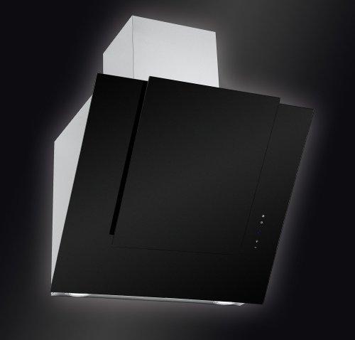 Baumann Design kopffrei Dunstabzugshaube, Modell Norma, 80 cm breit. 850 m3/h Abluftleistung, Randabsaugung mit innenliegendem Metallfettfilter, 4 Stufen Touch Control Steuerung, kopffreies Design, schwarzes Satinglas