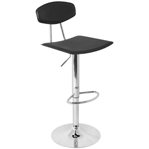 LumiSource BS-TW-VECTOR BK Vector Bar Stool, Black