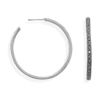 Sterling Silver Marcasite 3/4 Hoops