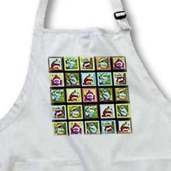 apr_44408 Lee Hiller Designs Colorful Sock Monkeys - Colorful Sock Monkeys Squares I - Aprons