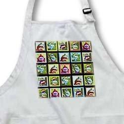 apr_44408 Lee Hiller Designs Colorful Sock Monkeys - Colorful Sock Monkeys Squares I - Aprons