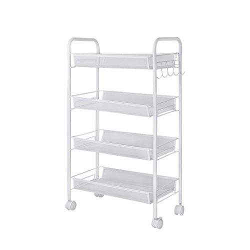 LANGRIA 4-Tier Metal Mesh Rolling Cart with Caster, Ideal for Kitchen Pantry Office Bedroom Bathroom Washroom Laundry (Metal Cart Kitchen compare prices)