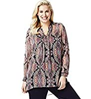 Plus Crinkle Effect Paisley Print Blouse