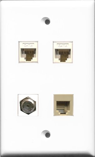 Riteav 1 Port Coax Cable Tv- F-Type And 1 Port Phone Rj11 Rj12 Beige 2 Port Cat6 Ethernet White Wall Plate