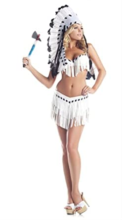 Be Wicked Costumes Women's Chief Indian Princess Costume, Black/White, Small/Medium