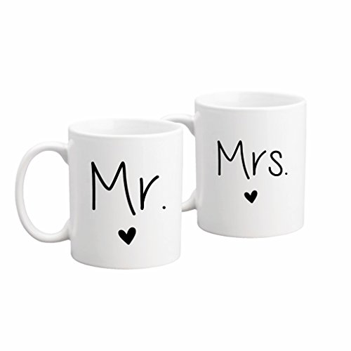 The Coffee Corner - Mr. And Mrs. Coffee Mug Set - 11 Ounce White Ceramic - Set of 2 Mugs - Perfect Wedding, Bridal Shower, or Anniversary Gift Idea - Gift for Newlyweds